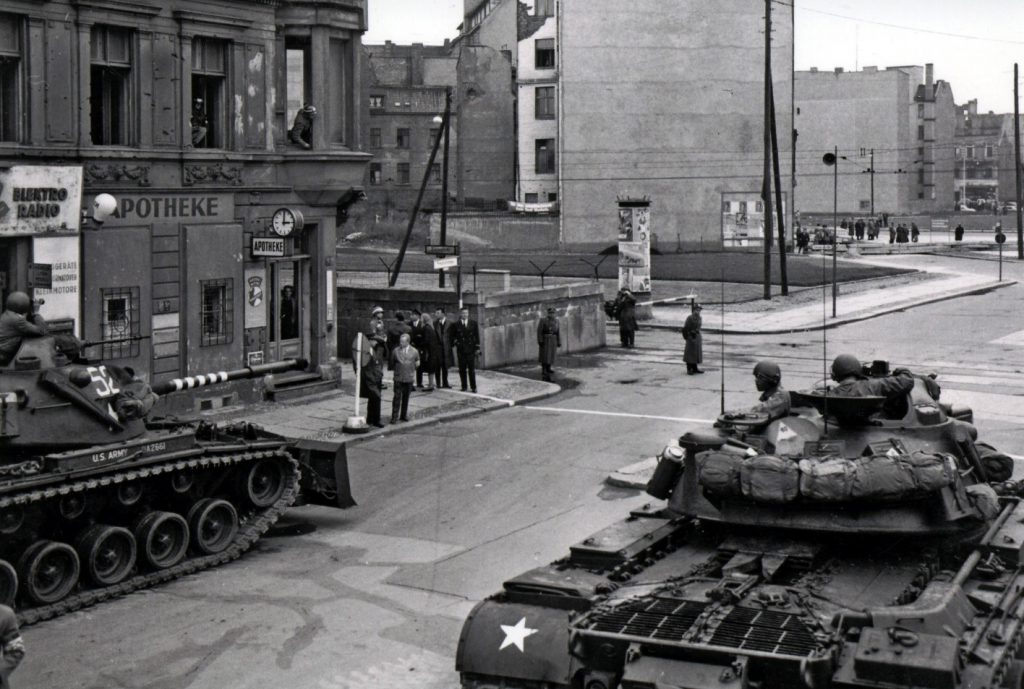 BAIV M48A5-12 M48A1 facting the T52 in Berlin at Checkpoint Charlie in 1961